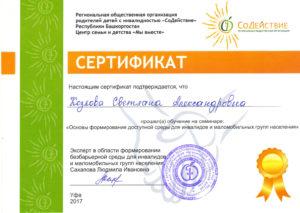 Сертификат в подтверждении, что Козлова Светлана Александровна прошла обучение на семинаре Основы формирования доступной среды для инвалидов и маломобильных групп населения